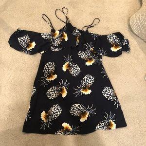 Lulus Pineapple Off the Shoulder/Halter Dress